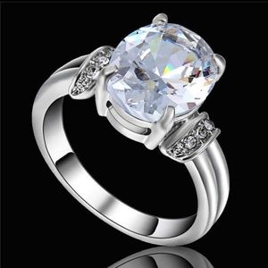 Jewelry - White Zircon White Rhodium Plated Ring  Size 9